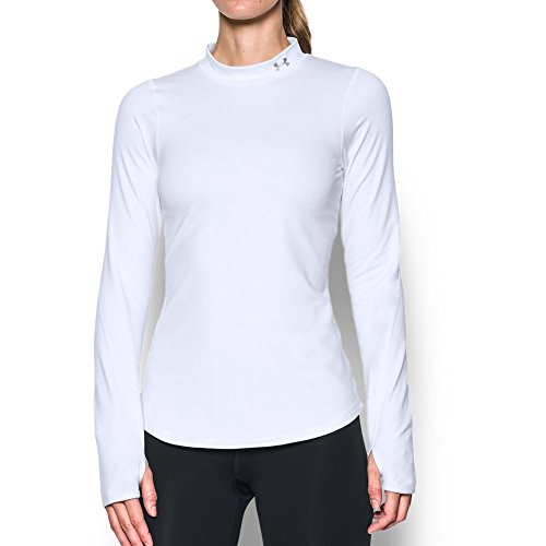 Under Armour Women's Cold Gear Fitted Mock Neck Shirt,White /Metallic Silver, Large