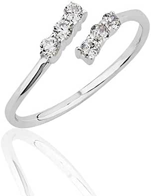 925 Sterling Silver Cubic Zirconia CZ Wrap Around Band Knuckle Midi or Thumb Ring 6mm, Size 4.5-5