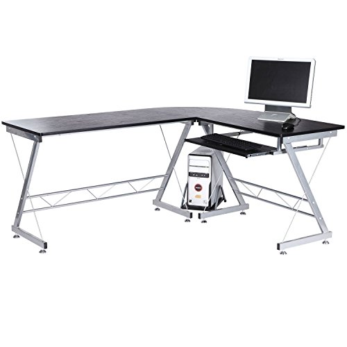 67-Inch L Shaped Computer Corner Desk Workstation PC Table Home Office Furniture Wood CPU Stand (Black)