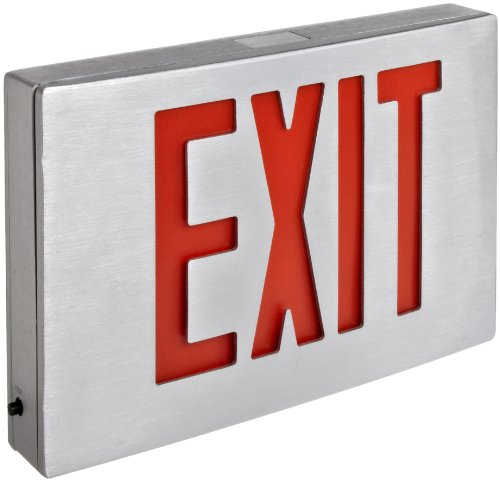 Morris Products 73340 Cast Aluminum LED Exit Sign, Red Letter Color, Brushed Aluminum Face Color, Brushed Aluminum Housing Finish