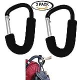 Large Aluminium Stroller Hook set 2 Pack (Black) by Youkwer-Multipurpose Mommy Hooks Hanging Diaper - Shopping Bags - Toys-Fit On Pram - Double Stroller - Wheelchair