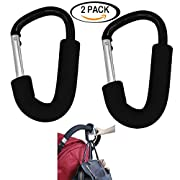 Large Aluminium Stroller Hook set 2 Pack (Black) by Youkwer-Multipurpose Mommy Hooks Hanging Diaper,Shopping Bags,Toys-Fit On Pram, Double Stroller, Wheelchair