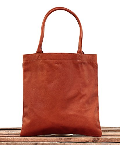 MON PARTENAIRE taglia S Naturel cuoio tote bag in stile vintage PAUL MARIUS