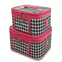 Train Case Cosmetic Toiletry 2 Piece Luggage Set Hot Pink Trim Black White Houndstooth Print