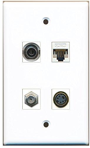 RiteAV - 1 Port Coax Cable TV- F-Type 1 Port S-Video 1 Port 3.5mm 1 Port Cat5e Ethernet White Wall Plate
