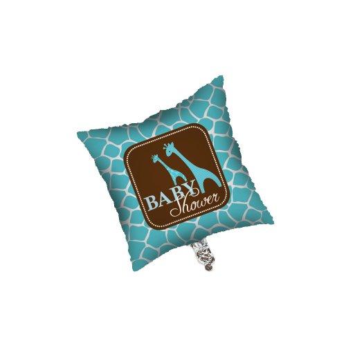 Creative Converting Baby Shower Wild Safari Blue Square Metallic Balloon, 18-Inch ()