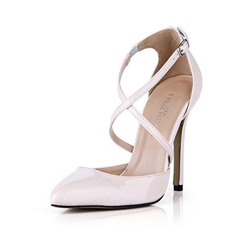 KUKIE Best 4U? Sandalias de verano con puntera de piel patentada de 12 cm, tacón alto, suela de goma con una hebilla, zapatos, color blanco