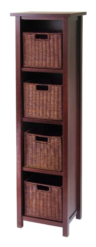 Winsome Wood Milan Wood 5 Tier Open Cabinet in Antique Walnut Finish and 4 Rattan Baskets in Antique Walnut Finish