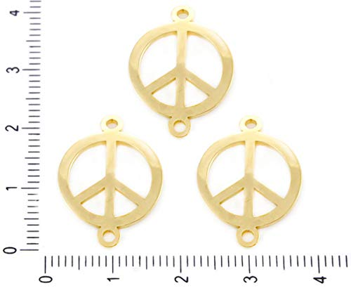 2pcs Stainless Steel Gold Tone Peace Sign Bracelet Connectors Freedom Dream Coin Hypoallergenic Pendant 2 Hole Charms Necklace 16mm x (Peace Sign Connector)