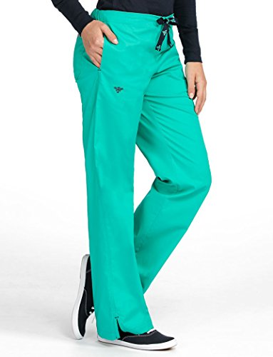 Med Couture Drawstring Signature Scrub Pants for Women, Spearmint/New Navy, Large - Large Scrubs New
