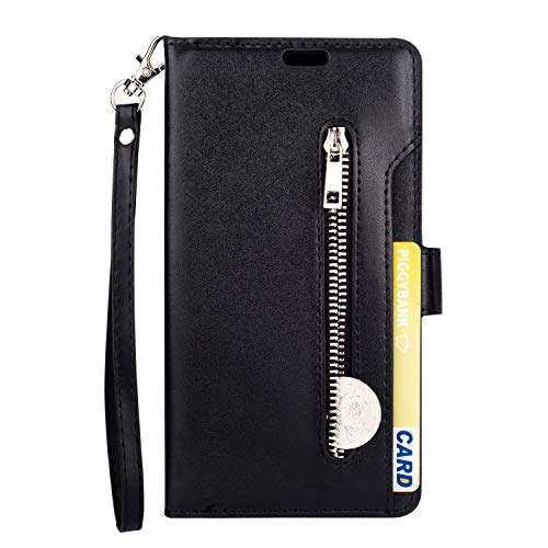 iPhone Xs/X Wallet Case, SUPZY Leather [9 Card slots] [photo & wallet pocket] (Black)