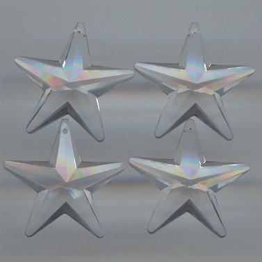 CRYSTAL ACRYLIC 30mm. MULTI FACETED STAR PENDANTS - Lot of 12 (Pendant Faceted Star)