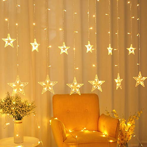 zhuohao Star Curtain Lights, Chiristmas Lights Outdoor,Window Curtain String Lights with 8 Flashing Modes for Christmas, Wedding, Party, Indoor, Outdoor, Warm White (Icicle Lights)