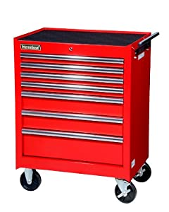 International VRB 2707RD 27 Inch 7 Drawer Red Tool Cabinet With Ball  Bearing Drawer Slides