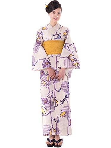 KYOETSU Women's Elegance Yukata 2 Piece Set (Yukata/Obi) (Medium (Japan Size BL), FM-1(Obi Mustard)) by KYOETSU