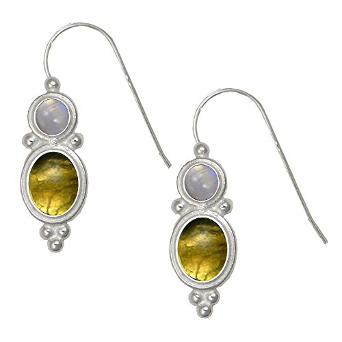 Special Sterling Earrings with Fluorite and Rainbow Moonstone Made in America