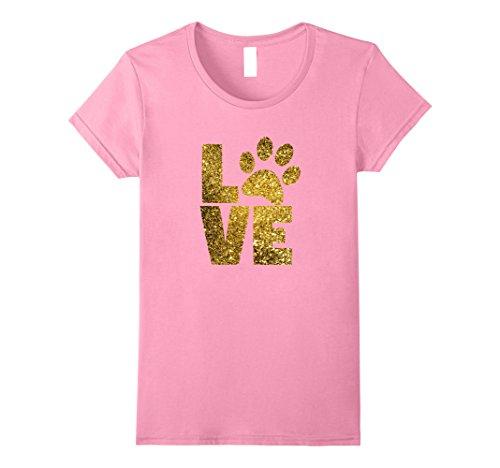 (Womens Love paw cat and dog love T-shirt gold glitter Medium Pink)