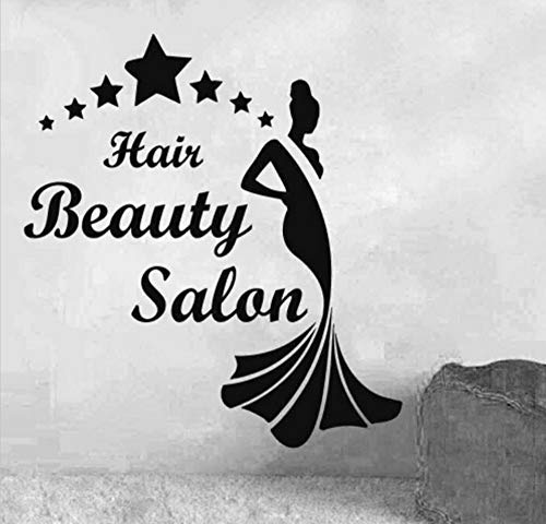 Dalxsh Hair Salon Vinyl Decal Sexy Gril Barber Shop Hair Beauty Salon Lettering Quote Mural Wall Sticker Hair Shop Room Decoration 55x58cm -