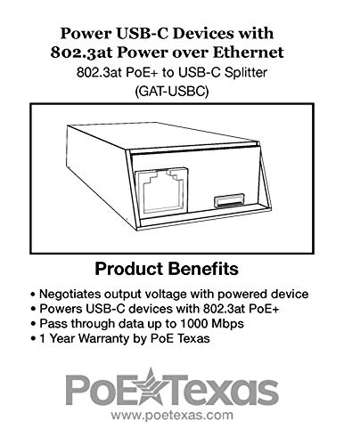 GAT-USBC | Easily Convert 802 3at PoE+ to USBC for Nest IQ, MacBook, Google  WiFi and More | Converts PoE to 5v,12v,15v or 20 Volts with Divided