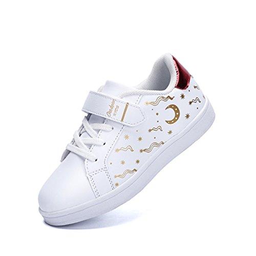Dexuntong Niños Zapatillas de deporte Calzado infantil Zapatos casuales Antideslizante zapatillas para andar Sneakers Con velcro Blanco