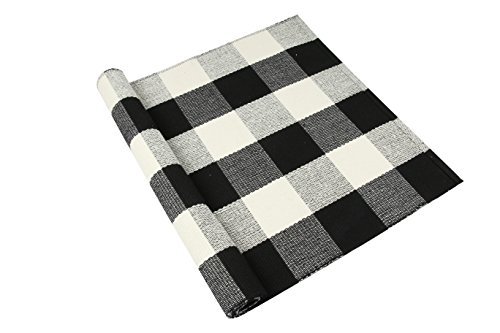 "Homcomoda Cotton Plaid Checkered Area Rug Hand Braided Kitchen Floor Rug Runner Washable Carpet (23.6"" by 51.2"", Plaid-Black and White) (Kitchen Checkered)"