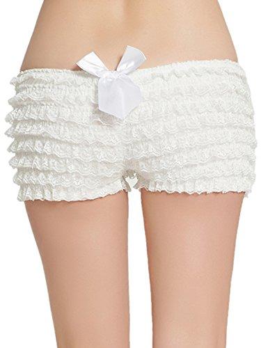 MisShow Women's Ruffled Rhumba Booty Short Panties Pettipants Tanga Shorts(White,S) ()