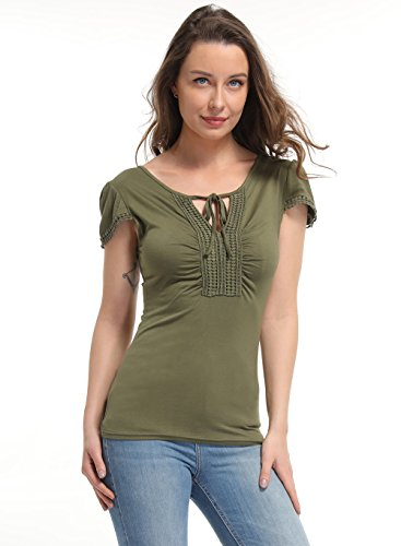 ouses Women's Peasant Tops Deep V Neck Shirts Peplum Tops for Women Ruched Front Sexy Summer Tee ()