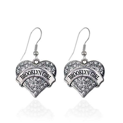 Inspired Silver - Brooklyn Girl Charm Earrings for Women - Silver Pave Heart Charm French Hook Drop Earrings with Cubic Zirconia Jewelry