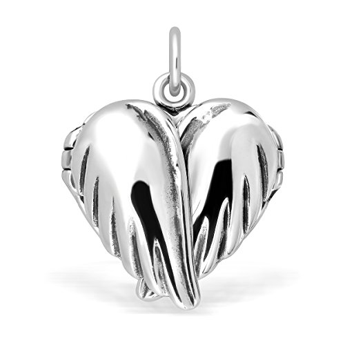 WithLoveSilver 925 Sterling Silver Feather Angel Wings Heart Love Charms Locket - Sterling Locket Charm Silver
