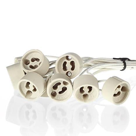 sweet-led - aus Keramik mit Qualitäts - 0,75mm² Silikonkabel - GU10 Fassung (230V) für LED und Halogen - 10 Stück - GU10 Sock