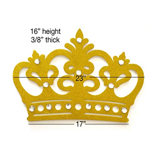 Glitter Crown Wall Decor, EVA Styrofoam, High Quality (Gold) (Gold Decoration Crown)