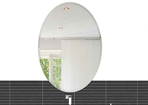 Fab Glass and Mirror Oval Beveled Polish Frameless Wall Mirror with Hooks, -