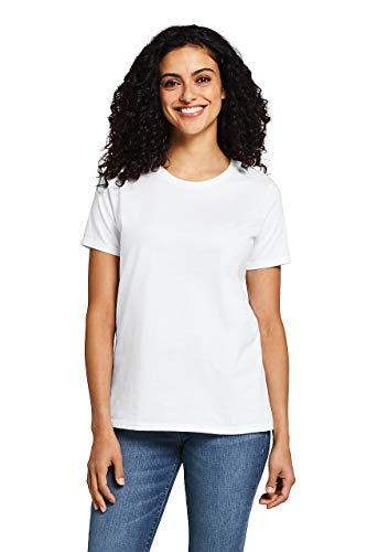 Lands' End Women's Relaxed Fit Supima Cotton Crewneck Short Sleeve T-Shirt White