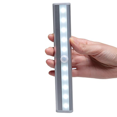 Pacuwi Motion Sensing Closet Light DIY Stick-on Anywhere Portable 10-LED Wireless Magnetic Attach Sensor Night Light for Cabinet/Stairs/Hallway/Garden/Step Light Bar (Battery Operated) by Pacuwi