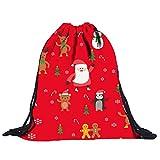 KIKOY Women Non-Woven Bags Drawstring Xmas Santa Print Bouquet Pocket Backpack