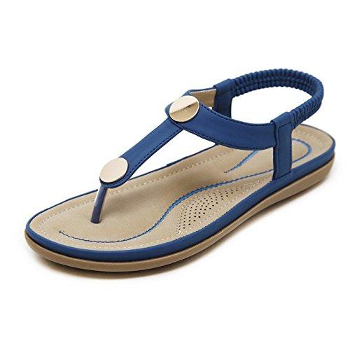 plano de elástico de cómodo de suave Zapatos de viajes encaje de sandalias las fondo 37 grandes mar correa de verano playa mujeres vacaciones P48qO4