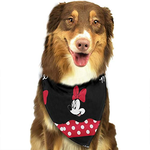 Pet Dog Bandanas,Minnie Mouse Printing Dog Kerchief,Triangle Head Scarfs Accessories for Small to Large Dogs Cats Pets - 27.5 X 18 Inch]()