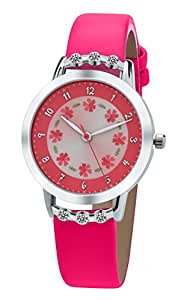 Dovoda girl watches easy reader time teacher flowers diamond red leather strap watches for Dovoda watches