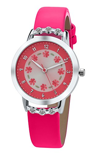 (DOVODA Girls Watches Easy Reader Time Teacher Flowers Diamond Rose Red Leather Strap)