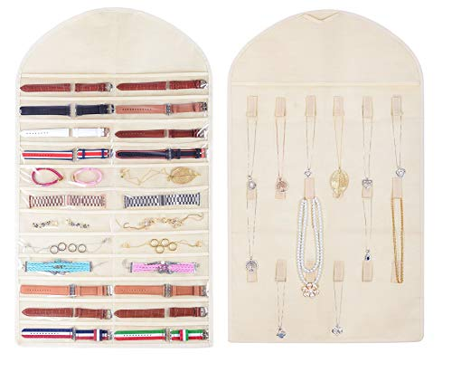 Jewelry Organizer Watch Band Holder 24 Wide Pocket 18 Necklace Hook and Loops, 2018 New Hanging Non-Woven Jewlery Holder Organizer for Holding Accessories (Biege)
