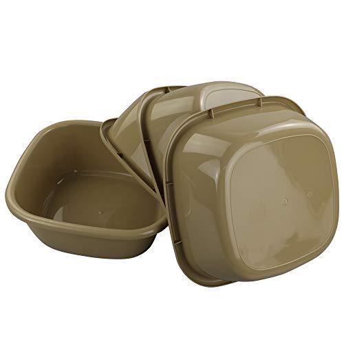 (Eagrye Plastic Small Washbasin/Baby Dishpan, Set of 4, Khaki )