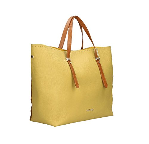 véritable à Impression Sac Cm cuir femme Italy en main Bags Brun Marron in Citron POP Made Dollar 34x31x15 q0wSgn