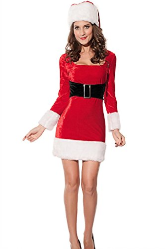 Chase Secret Women's Mrs Santa Claus Christmas Costume Dress Medium Red