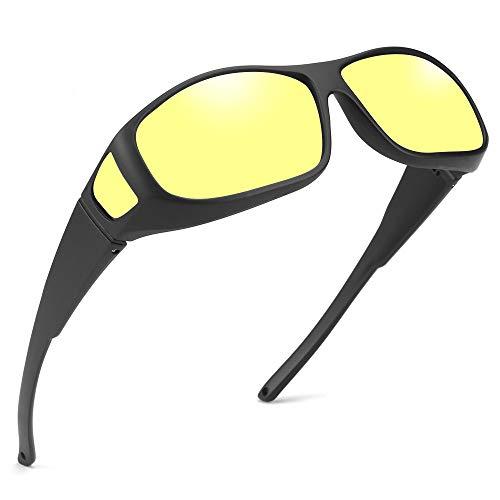 Unisex Wear Over Prescription Sunglasses - Polarized Fit Over Sun Glasses (Black, Matte Black Frame Yellow Lens)