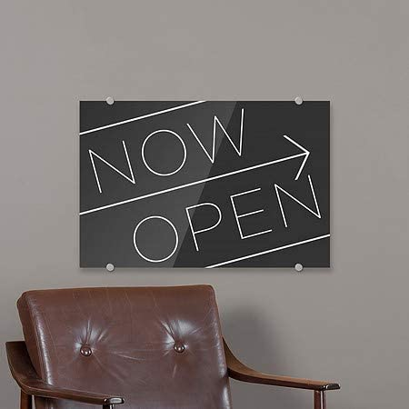 Now Open Basic Black Premium Brushed Aluminum Sign CGSignLab 27x18