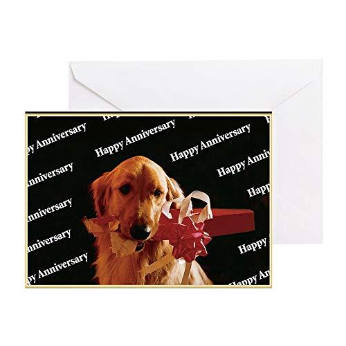 CafePress Golden Retriever Happy Anniversary Card Greeting Card, Note Card, Birthday Card, Blank Inside Matte