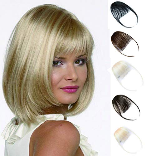 Clip in on Air Bangs One Piece Fringe 100% Remy Human Hair Extensions Hairpiece Full Front Neat Air Fringe Hand Tied Straight Flat Bangs with Temples for Women 3g(0.1 oz) Bleach Blonde