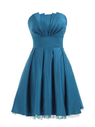 LandyBridal Women's Strapless Pleated Flower Satin Party Dress Blue XL