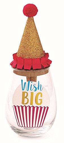 Mud Pie Wish Big 9 oz Stemless Wine Glass and Cork Topper Set, Multicolor