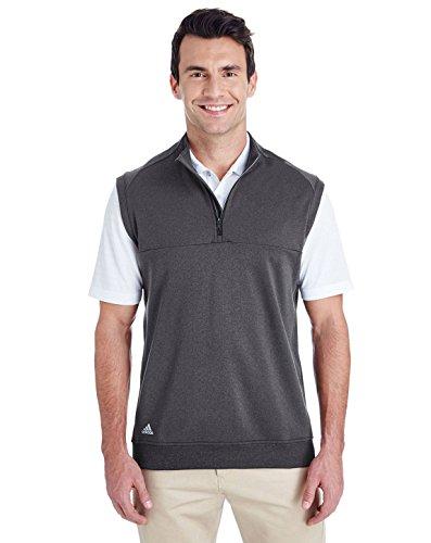 (adidas Golf Mens Quarter-Zip Club Vest (A271) -Black Heat)